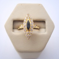 BAGUE MARQUISE SAPHIR ET DIAMANTS EN OR 18K