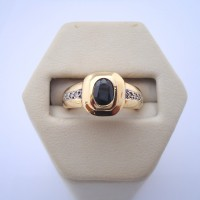 BAGUE SAPHIR ET DIAMANTS EN OR 18K