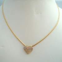 MAGNIFIQUE COLLIER CŒUR DIAMANTS EN OR 18K